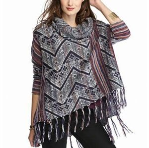 Free People Be The One Fringe Pancho Sweater